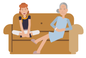 Two women sit comfortably on the sofa